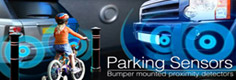 BMW Parking Sensors, front, rear, both in BMWo and visual formats